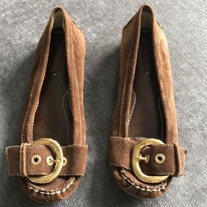 Nine West Brown Suede Flat with Gold Buckle
